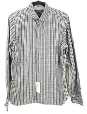 Bloomingdale's Men's Casual Button Down Shirt Grey, White, Navy Plaid Size M NWT