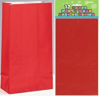 RED PAPER PARTY BAGS 26CM(H) X 14CM(W) PACK OF 12 BIRTHDAY PARTY SUPPLIES