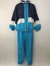 New Vintage BOLD SPIRIT Womens Blue Nylon TRACK SUIT Medium Color Block Jacket