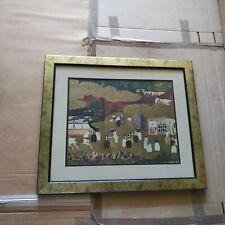 Striking Japanese Tosa School Print In Heavy Gold And Black Custom Wood Frame