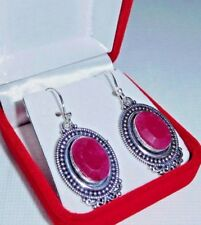 Artisan Handcrafted Natural Raw Cut Ruby 925 Silver Earrings ~ 1 3/4 Inches