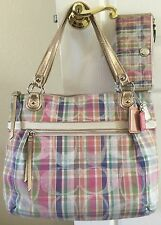 COACH POPPY Madras Shoulder Tote M1194-19611 Handbag & Matching Wallet Set