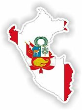 Sticker Silueta Perú Mapa Bandera Para Parachoques Guitarra Patineta Locker Tablet