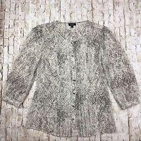 Talbots Women's Blouse Size 2 Top Shirt Snake Print Pleated Semi Sheer Loose