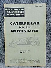 Oem Caterpillar Cat No 14 Motor Grader Operation Amp Maintenance Manual 96f1 Up