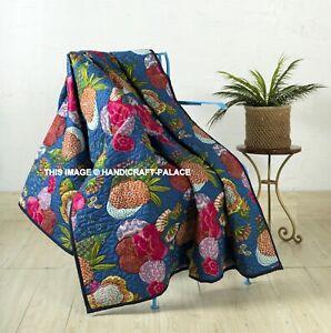 Handmade Bleu Floral Imprimé Couverture Indien Kantha Matelassé Jeté de Lit