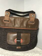Fossil Key Per Quilted Tote Bag Handbag Purse Brown Canvas Leather Trim Shopper