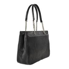 DKNY Women's Gansevoort Pinstripe Quilted Shopper Tote Bag BLACK