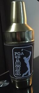 """9"""" PGA TOUR Brass and Leather Cocktail Shaker Mixer Never Used Gold Tone Brown"""