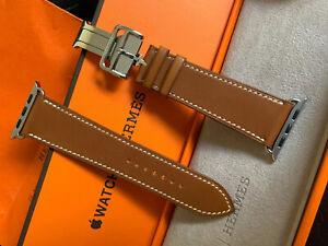 "Apple Watch Hermès 44/42mm Armband Barenia Leder mit Faltschließe""Fauve"" 569,-€"