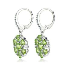 Sterling Silver Peridot and White Topaz Flower Dangle Leverback Earrings