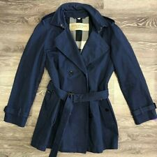 Mens Navy Blue Burberry Brit Cotton Trenchcoat size Large