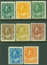 EDW1949SELL : CANADA 1911-25 Scott #104//22. 8 different Mint OGH. Cat $277