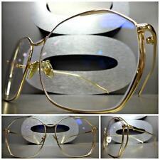 CLASSIC VINTAGE 70s RETRO Style Clear Lens EYE GLASSES Unique Gold Fashion Frame