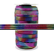 100 Yard Spool - Fold Over Elastic - Rainbow Sash on Black - 5/8in Wide - FOE