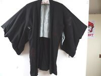 vintage Oriental HAORI crepe feel black kimono gown/robe/jacket  One size