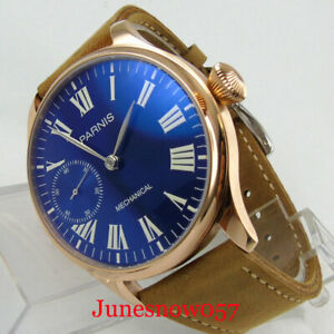 PARNIS Mechanical Manual 6497 Hand Winding Men Watch Blue Seeing Backcover