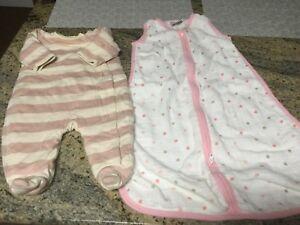 Aden + Anais Muslin Sleep Bag Pink Polka Dots & Baby Gap Stripe Heavy Sleeper 3M