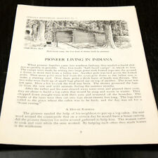 """INDIANA HISTORICAL LEAFLET """" PIONEER LIVING IN INDIANA"""" (W-4-B-17)"""