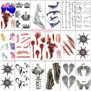 Women Men Lace Henna Temporary Tattoo Waterproof Halloween Body Arm Art Sticker