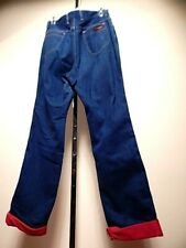 Vintage 1980s Wrangler Blue Jeans Red Flannel Lined Cuffed Denim Pants Horse 14