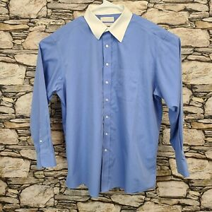 Gold Label Roundtree & Yorke Mens Button Down Shirt Size 17 1/2 35 Fitted Blue