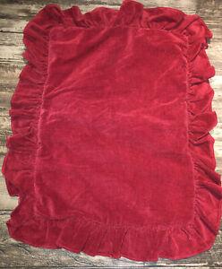 1 Ralph Lauren Red CorduroyPillow Sham Ruffle Edge Standard