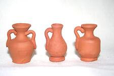 P1, Tongefäße Set, 3-tlg., 3 cm hoch, Krippenzubehör, handgemachte Tonminiaturen