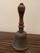 More details for antique vintage brass school hand bell wood turned handle 17cm loud ring