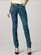 Theyskens Theory Green Acid Wash Skinny Ankle Piquer Jeans Sz 27