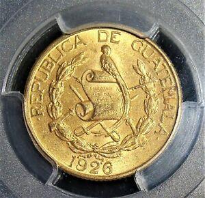 Guatemala: Republic gold 5 Quetzales 1926-(P) MS62 PCGS