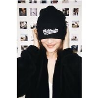"""NEW! Brandy Melville ribbed Black  trudy """"California"""" Patch Beanie OS NWT"""