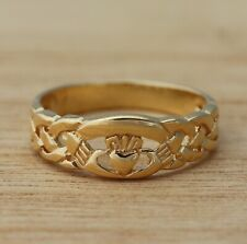 Yellow Gold Plated on Real 925 Sterling Silver Celtic Claddagh Band Ring