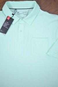 NWT Under Armour Charge Cotton Scramble Polo Shirt Mint Green Men's XL