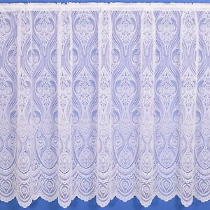 Connie Floral Lace Net Curtain Finished In White - Various Widths And Drops