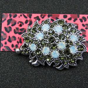 Betsey Johnson Green Enamel Crystal Cute Hedgehog Charm Animal Brooch Pin