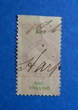 1870 1S NEW ZEALAND STAMP DUTY REVENUE BAREFOOT# 184 USED DIE Ii PERF 10 CS33173
