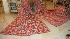 GORGEOUS ANTIQUE TALL & WIDE FRENCH SILK LINED DRAPES 10+FT TALL CURTAINS