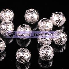 Round Hollow GOLD & SILVER Plated Spacer Beads DIY Findings 100pcs 4mm/6mm/8mm