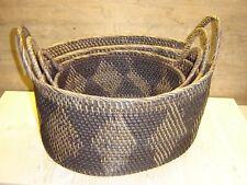 3er Set Henkelkörbe, Rattankörbe im Set - stabile hochwertige Handarbeit