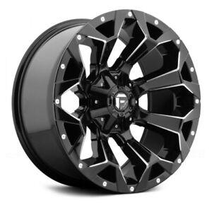 """20"""" Fuel Assault D576 Gloss Black Milled Wheel 20x9 5x127 -18mm Lifted"""