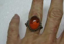 VINTAGE OLD PAWN Circular Style Sterling Silver Ring Size 5.75 W/ Amber N154-M