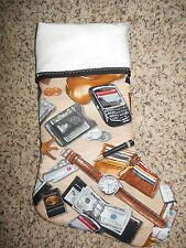 Handmade Christmas Stocking, Men's watch, keys, money, phone COMPLETELY LINED