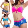 Bikini donna costume bagno mare due pezzi culotte shorts piscina pinup DD341