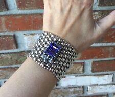 NEW AUTH Liquid Metal Sergio Gutierrez TANZANITE Swarovski Snap Bracelet RTB7
