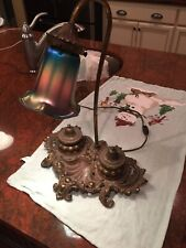 1910 Brass Double Ink Well Desk Lamp With Favrile Glass Shade-see Description-