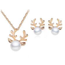 Christmas Pearl Deer Earrings Ear Stud Necklace Women Fashion Jewelry