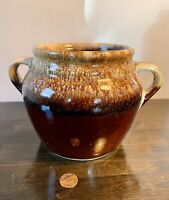 OLD VTG ANTIQUE CROCK 1 Qt BROWN STONEWARE HANDLE COOKIE JAR VINTAGE ~ USA!