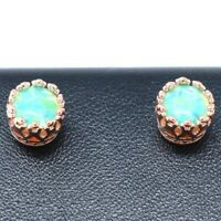 Antique Vintage Green Green Opal Earring Women Jewelry Gift 14K Rose Gold Plated