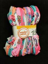 Wonder Nation Girls' No Show Socks 15 Pair Size LG 4-10 Multi Pack New Designs